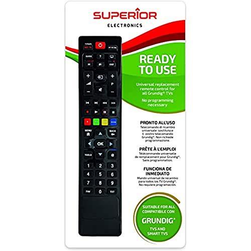 Superior Electronics SUPTRB001 - Mando a Distancia Universal para Todos los televisores Grundig, Listo para Usar, no Requiere programación