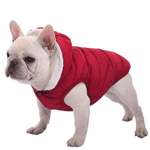 Dog Fleece Hoodie, Windproof Waterproof Dog Coat, Fleece & Cotton Lined Warm Dog Jacket, Cold Weather Pet Apparel Clothes Vest for Small Medium Large Dog Breeds (XXL, Red)
