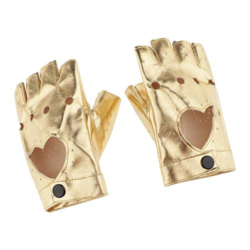 Hellery Damen Lederhandschuhe fingerlos Fingerhandschuhe Leder-Handschuhe Biker Fingerlinge Halbfinger Handschuhe - Golden
