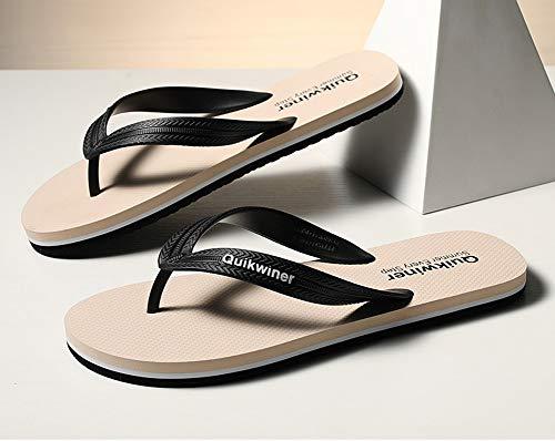 QTTC Chanclas para Hombre Y para Mujer Zapatillas De Baño para Interior Zapatillas De Baño Sandalia Antideslizante para Piscina Zapatos De Agua ChanclasBeige-42