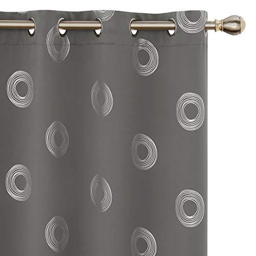 Amazon Brand - Umi 2 Pièces Rideaux Occultant Thermiques Rideau Chambre Enfant Isolant a Oeillet avec Motif Argente Gris Clair 140x175cm