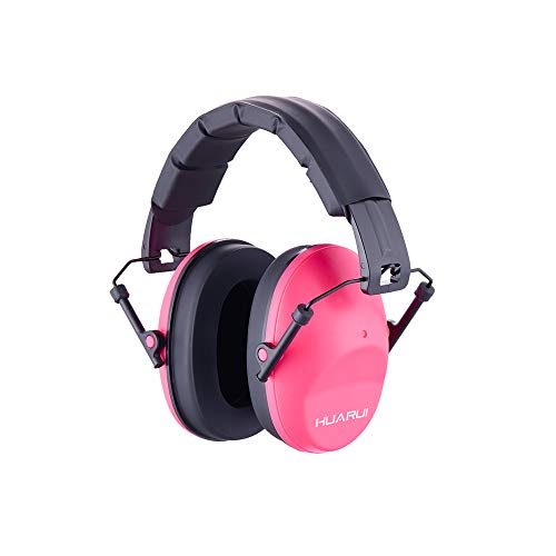 Huarui Noise Cancelling Ear Muffs, Adjustable Shooting Ear Muffs,Shooters Ear Protection Safety Ear Muffs, Lightweight Ear Muffs Noise Protection, Ear Muffs for Shooting Hunting (Pink)