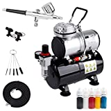 Timbertech Airbrush Kit with Compressor AS-186K with Airbrush Gun, Air Hose, Cleaning Brush & Paints for Hobby, Graphic and so on