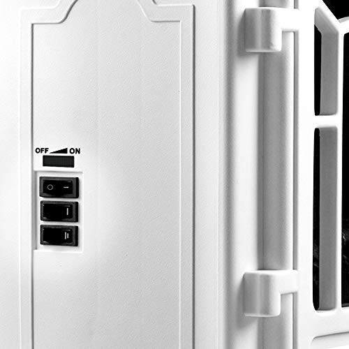 Elektro-Kamin mit Heizung und Kaminfeuer-Effekt weiß - 6