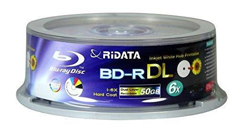 RiData 50GB BD-R DL Dual-Layer Blu-Ray Writable 6x Disc 25pk
