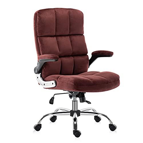 Yamasoro Bürostuhl ergonomischer Schreibtischstuhl Chefsessel mit aufklappbaren Armlehnen, höhenverstellbarer 360° Drehstuhl, Office Chair mit Verstellbarer Lordosenstütze, Büro Samt Stuhl(Weinrot)