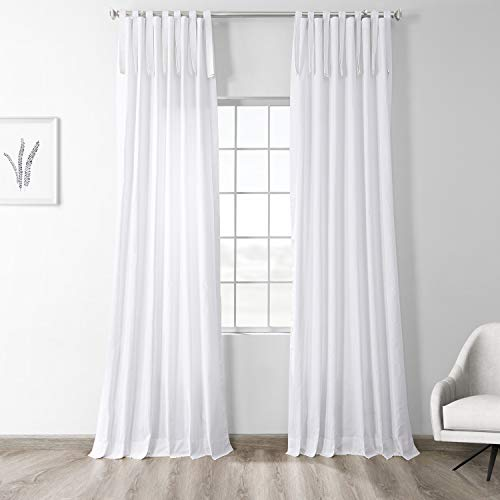 HPD Half Price Drapes PRCT-S19B-96-TT Solid Cotton Tie-Top Curtain (1 Panel), 50 X 96, Whisper White