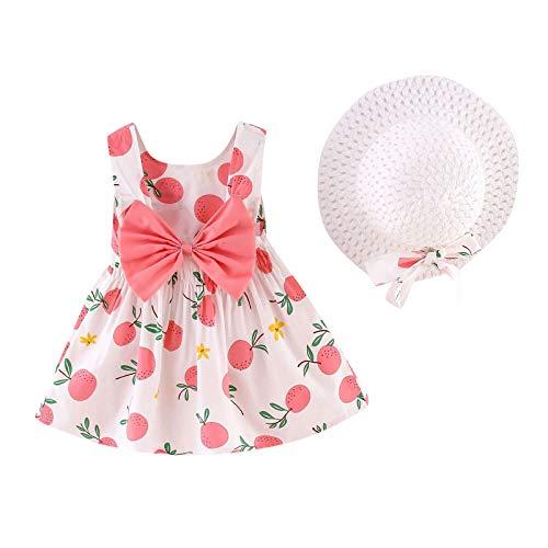 RENJIA IHGWE Mädchen Kleider Vintage Kurzarm Baumwolle Kleider Mädchen Kleinkind Baby Blumen Prinzessin Kleid Hut Outfits Kleidung Kommt mit Strohhut Set