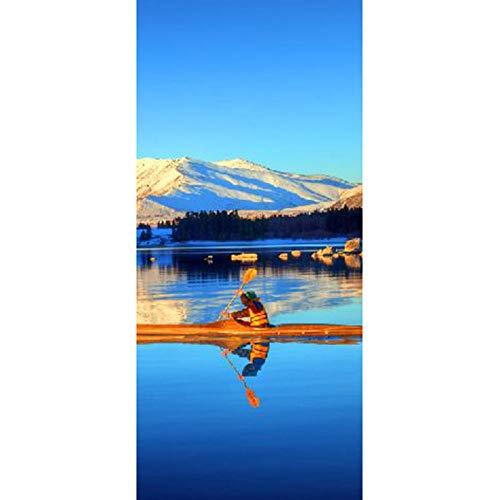 Bdhnmx 3D deur wandafbeeldingen schillen en borduren rubberboot in de buurt van sneeuw berg muurschilderingen sticker decoratie zelfklevend behang verwijderbare poster 77x200cm