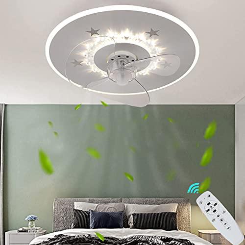 ZBYL Ventilador de Techo con luz y Mando a Distancia LED Ventilador Luz Silencioso Plafon Regulable Moderna Velocidad del 3 Viento Ajustable Fan Lámpara de Techo para Dormitorio salón Fan Iluminación