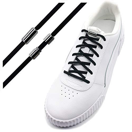 Run out sports Elastische Schnürsenkel mit Metallverschluss - schleifenlos - elastisch ohne binden - Schnellverschluss mit Metallkapsel (Schwarz)