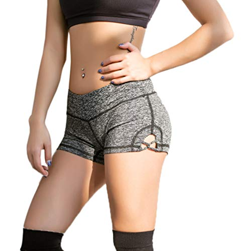 Elonglin Short de Sport Femme Yoga Culotte Mode Super Doux Short élastique Stretch Fitness Running Gym Sexy Taille Haute Bermudas Shorty Quotidien Plage Casual Slim Fit Gris Taille FR L (Asie XL)