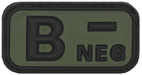 Klettabzeichen noir/olive, groupe sanguin nEG \