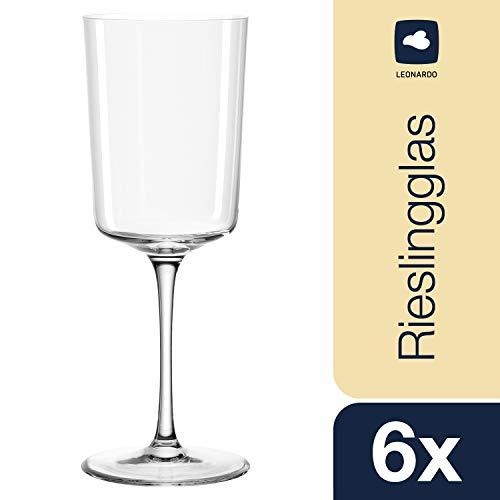 Leonardo Nono Riesling-Gläser, Weißweinglas mit gezogenem Stiel, spülmaschinenfestes Weinglas, 6-er Set, 370 ml, 066296