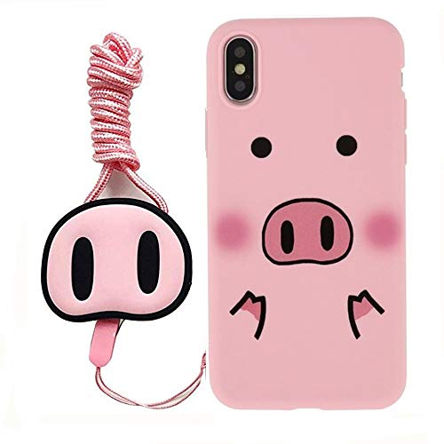 for iPhone 6 Plus Case, for iPhone 6s Plus Cover, Cute Pink Pig Silicone Case with Lanyard Strap Soft Case Cover for iPhone11 Pro Max Xs Max XR 6S 7 8 Plus (for iPhone 6 Plus/6s Plus)