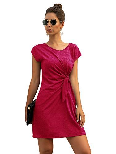 Damen T-Shirt Kleid mit Twist Lässig Freizeitkleid Kurzarm Basic Kleider Sommerkleid Einfarbig Casual Dress Tunika Kleid Rundkragen Kurz Shortkleid Bordeaux S