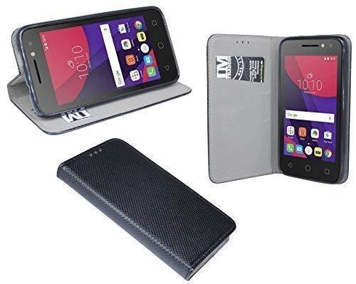 ENERGMiX Buchtasche kompatibel mit Alcatel Pixi 4 (5010D) 5.0 Zoll Hülle Case Tasche Wallet BookStyle mit Standfunktion in Schwarz