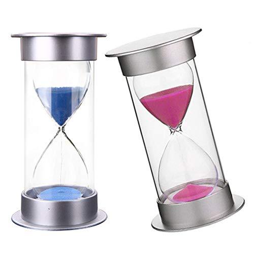 Vientiane Sanduhr Timer Sanduhr, 2 Stück 15Minuten fürZeitmanagement, Home Office-Dekoration, Geburtstagsgeschenke, Spiele, Kochzeitpunkt (Rosa & Blaue)