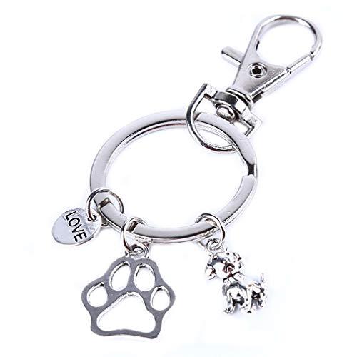 Pinhan Chic Llavero con colgante de huella de perro con diseño de animal y letra de amor para perro, llavero, bolsa con colgante, mochila