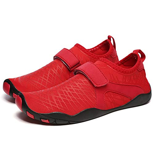 WHSS Zapatos de Playa Pareja de Verano Zapatos de Playa Antideslizantes Que absorben el Sudor Zapatos de natación Zapatos Deportivos al Aire Libre Zapatos anticortados Código múltiple (Rojo)