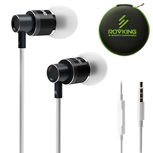 ROVKING Wired Earbuds with Microphone and Case, Stereo Noise Isolating in Ear Headphones with Deep Bass, Metal Ear Buds Earphones for iPhone, iPad, iPod, Samsung Cell Phones, MP3, Laptop, Black