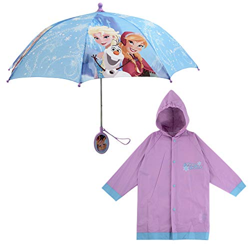 Disney girls Disney Frozen and Slicker Rainwear Set, Elsa Anna Little Girl Rainwear Ages 2-7 Umbrella, Frozen Light Purple, LARGE AGE 6-7 US