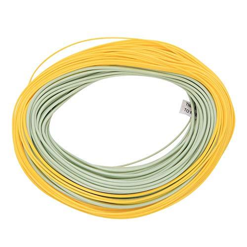 Sedal de pesca con mosca flotante frontal, anillo soldado de nailon Sedal de pesca con mosca de nailon, verde amarillo para pesca en el mar/pesca fresca Amante de la pesca(WF7F)