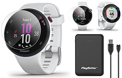 Garmin Forerunner 45S (White, Small) Running GPS Watch Power Bundle | +HD Screen Protectors & PlayBetter Portable Charger | Garmin Coach, Lightweight, Heart Rate, Body Battery, Smart Notifications