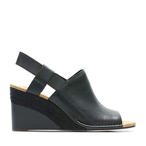 Clarks Damen Spiced Bay Geschlossene Sandalen, Schwarz (Black Leather), 37.5 EU