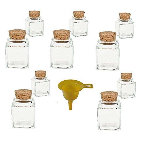 10 mini Gewürzgläser 50ml / Glasdosen mit Korkverschluss für Gewürze, Salz, Gastgeschenke, etc. - inkl. einem gelben Einfülltrichter