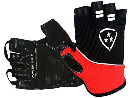 Deporteshera - Guantes Ciclismo Gel Pro, Color Rojo/Negro