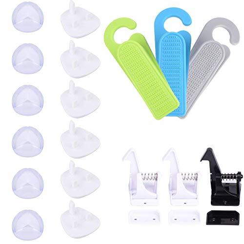 BANGSUN Kit de prueba de seguridad infantil con 6 fundas de zócalo protector de esquina de goma, paquete de 18