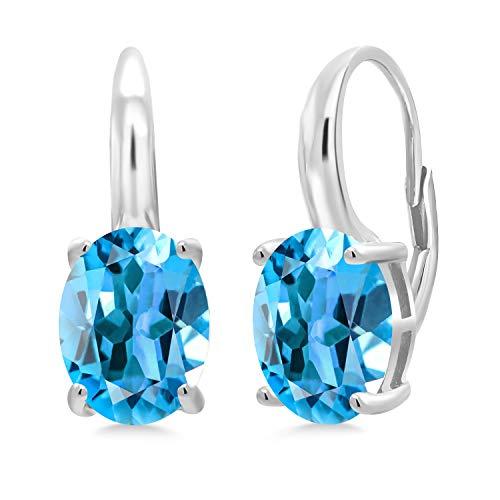 Gem Stone King 925 Sterling Silver Swiss Blue Topaz Women's Earrings, 5.40 Cttw, Gemstone Birthstone, Oval 10X8MM