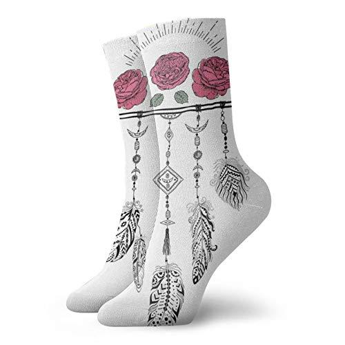 Calcetines altos de compresión con diseño de plumas colgando de un Y, calcetines para mujeres y hombres, mejor para correr