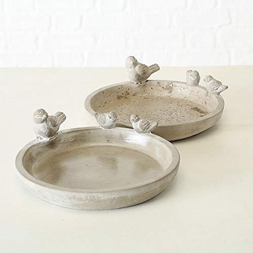 Vogeltränke / -bad Dyla, 2 sort., H 9 cm, Beton, Grau Sortierung: 2er SET