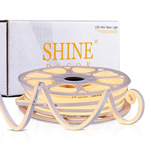 Shine Decor 82FT/25M LED Neon Rope Lights, Dimmable 3000K Warm White Flexible Neon Light LED Strip 2835 120LED/M, 7x14.5mm 110V-120V IP65 Waterproof Indoor Outdoor Light Strip, Accent DIY Lighting