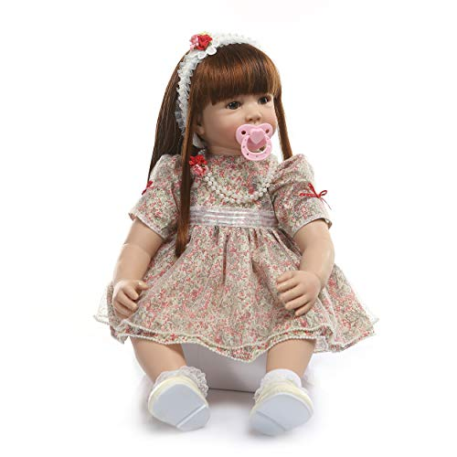 Pinky Reborn 24 Pulgadas 60cm Realista Muñecos bebé Renacer Bebé Hermosa Muñeca Silicona Bebe Reborn Toddler Niña Recien Nacido (Item 10)