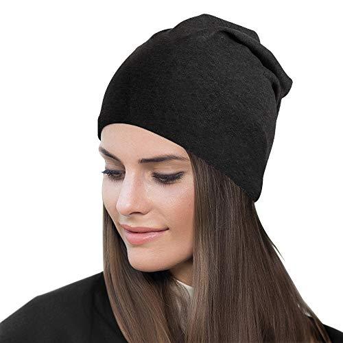 Bleswin Bonnet tendance en coton doux pour homme et femme, unisexe, chaud, léger, lavable en machine, convient pour toutes les saisons (Noir)