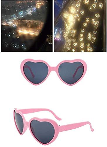 Mzthkly Gafas de Efectos de Amor en Forma de Corazón, Gafas de Difracción de Fuegos Artificiales de Corazones 3D, Gafas de Sol de Amor de Moda Nocturna, Juguete (Rosado)