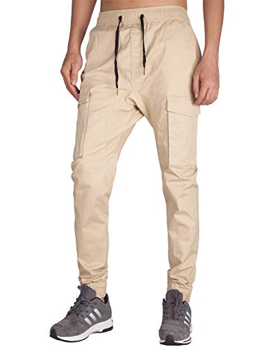ITALYMORN Pantalon Cargo Joggers Beige Hombre Sports Chandal (M, Crema Caqui)