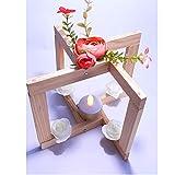 GS1 Belle - Lámpara de madera natural para decoración de casa, fiestas o bodas. Centro de mesa. Diseño original hecho a mano.