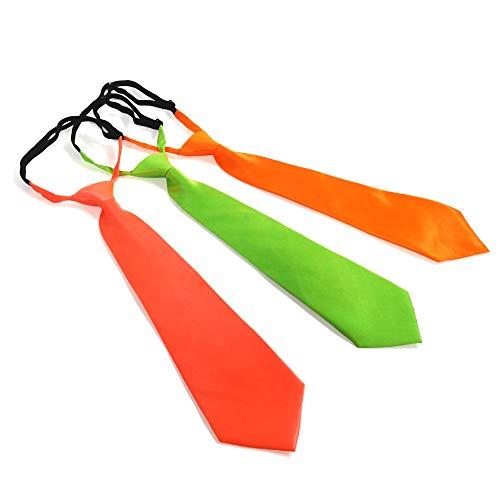 Eventlights Corbatas de neón – Juego de 3 unidades – Luz negra – UV activo – 3 colores: verde, naranja, rosa