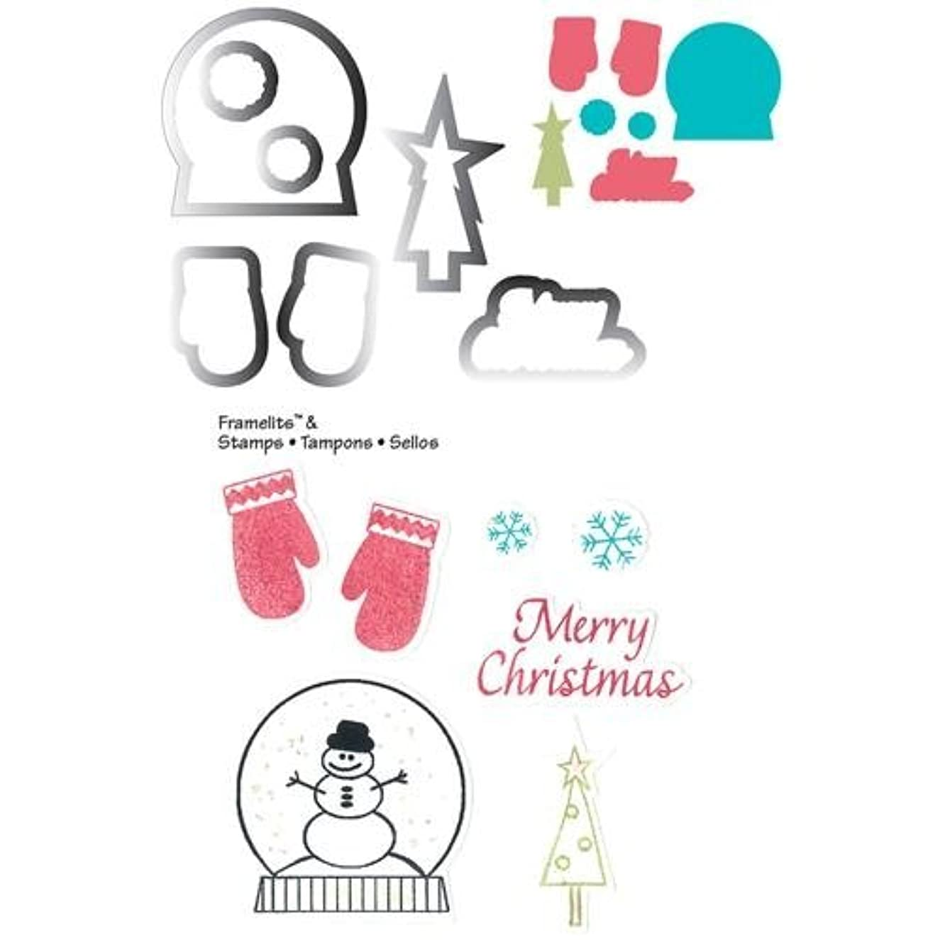 Sizzix Framelits Dies 7/Pkg With Cling Stamps-Mittens & Snowglobe