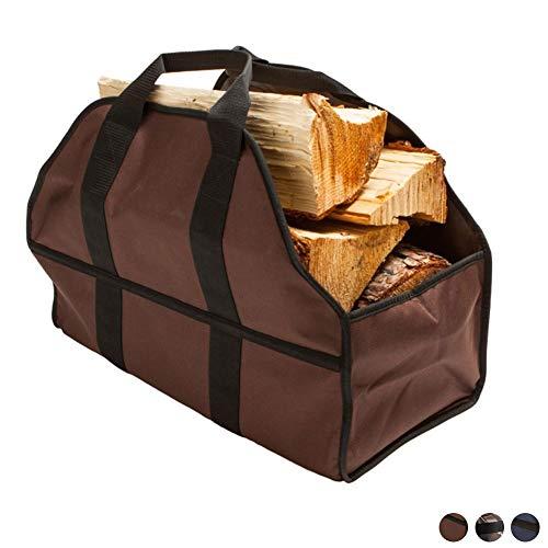 NANANA Kaminholzkorb Holztragetasche, Indoor Oxford Tuch Log Tote Bag Carrier, Brennholz Totes Log Inhaber mit Aufbewahrungstasche Log Holder, 24x12x10 Zoll,Braun