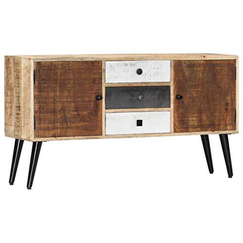 vidaXL Mangoholz Massiv Sideboard mit 3 Schubladen 2 Türen Kommode Mehrzweckschrank Beistellschrank Schrank Standschrank Anrichte 118x30x62cm