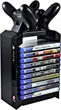 Numskull Official Sony Playstation 4 Game Storage Tower and Twin DualShock Controller Charger Accessory, Playstation Games Stand and Dual Controller Dock, Stores 10 PS4 Games or Blu Ray Disks