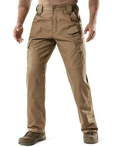 CQR Men's Tactical Pants, Water Repellent Ripstop Cargo Pants, Lightweight EDC Hiking Work Pants, Outdoor Apparel, Duratex Mag Pocket(tlp107) - Coyote, 38W x 30L