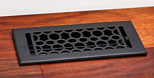 "LIVE & LOVE home 10RRI-410-BLK Heavy Duty Thicker Gauge Solid Cast Iron Black Powder Coating Finish Floor Register/Vents- Dimension: 4"" X 10"" Opening"