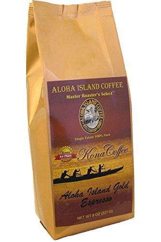 100% Pure Kona Coffee, Aloha Island Brand ESPRESSO, Robust, Very Dark Roast, Pure Kona in a Rich Espresso Roast, 8 Oz Whole Bean