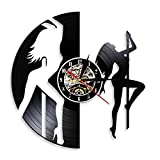 LKJHGU Sexy Chick Stripper Wall Art Mallakhamb Reloj de Pared Sexy Dancing Girl Pole Dancers Night Club Steal Tube Reloj de Pared con Registro de Vinilo